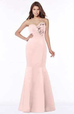 Glamorous Fishtail Sweetheart Half Backless Satin Flower Bridesmaid Dresses