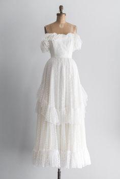 1970s Off-the-Shoulder Swiss Dot Gown | GOSSAMER