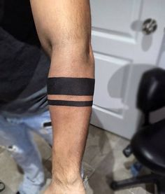 Simple Guys Armband Tattoo Of Two Solid Black Ines