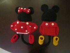 Crochet Mickey and Minnie Baby Costume