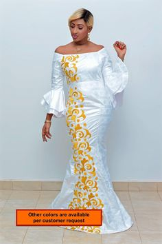 Items similar to Premium Getzner magnum gold African dress/African clothing/African fashion/ African dress/Bazin boubou, Plus size dress/Plus size clothing on Etsy African Wear Dresses, Latest African Fashion Dresses, African Print Fashion, African Attire, Plus Size Dresses, Plus Size Outfits, Mode Style, Fashion Outfits, Women's Fashion