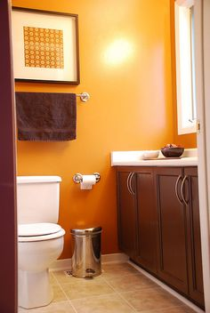 Orange And Brown Bathroom Match The Livingroom Kitchen In The Half Bath