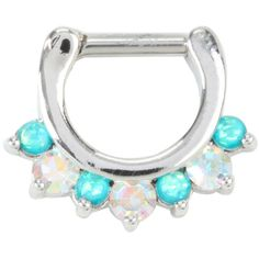 Hot Topic Steel Teal Gem Septum Clicker ($9.59) ❤ liked on Polyvore featuring jewelry, gemstone jewelry, steel jewelry, teal jewelry, clear crystal jewelry and iridescent jewelry