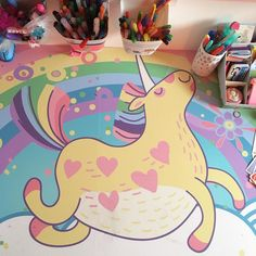A DIY table for little unicorn lovers created with pixerstick self-adhesive wall mural by @mabelino_family https://www.instagram.com/p/BRqqgtojLHg/