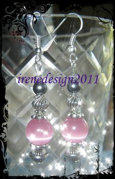 Handmade Silver Hook Earrings with Pink Cat Eye & Black Pearl by IreneDesign2011 in my Etsy shop Do you like these earrings? I would love to know, thank you :-D Enjoy a peaceful day. Irene