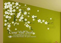 flower wall decal cherry  blossom  vinyl wall decals girl nursery wall decals sticker children wall decal- cherry blossom Z168 cuma via Etsy