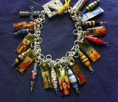 Funky Catholic Charm Bracelet with African paper beads by PATHWEAR, $28.00