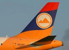 Colores de la bandera de Armenia en la cola de este avión de Armavia.
