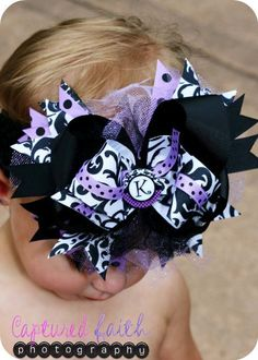 Damask Purple Dot Over-the-Top HAIR BOW