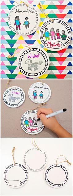 Kid-Made Family Portrait Ornaments. Let kids create cute keepsake ornaments by drawing family portraits to hang on the Christmas tree. Or handmade holiday gifts.