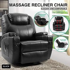 New Artist Hand Massage Recliner Chair Cup Holder Electric Heated Living Room Chair Bedroom Sofa Reading Chair (Black) online - Alyssafavour Leather Recliner Chair, Leather Sofa, Tufted Accent Chair, Lift Recliners, Contemporary Sofa, Bedroom Chair, Living Room Chairs, Lounge, Full Body
