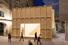 Black Maria by GRUPPE is a temporary pavilion that served as an event space, meeting point and screening device at Central St. Martin Art School in London.