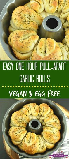 Simple and Easy One Hour Pull-Apart Garlic Rolls are infused with the flavors of garlic and herbs. Perfect as an appetizer or can be paired with pasta or hot soup for a complete meal. Vegan and made from scratch!!