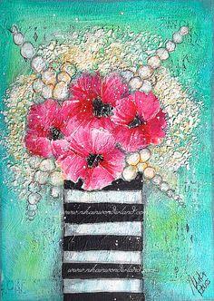Original Mixed Media Painting  Floral Canvas  by NikaInWonderland