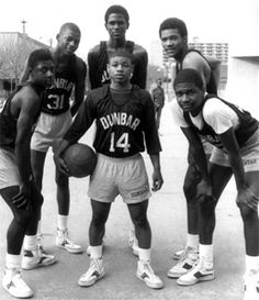 EAST BALTIMORE POETS: The Greatest High School Basketball Team Ever: 1984 Dunbar Poets (from left to right) Darryl Wood, Reggie Lewis, Reggie Williams, Tim Dawson, Jerry White. (Center) Muggsy Bouges