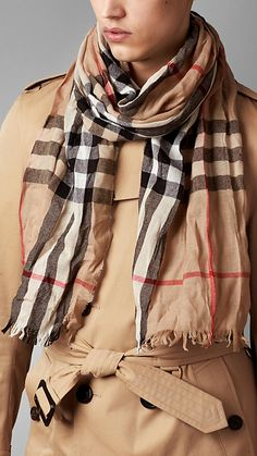 Camel check Check Wool Cashmere Crinkled Scarf - Burberry