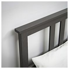 IKEA - HEMNES, Bed frame, dark gray stained, Adjustable bed sides allow you to use mattresses of different thicknesses. Made of solid wood, which is a durable and warm natural material. Slatted bed base and mattress sold separately. Under Bed Storage, Storage Boxes, Extra Storage, Malm, Hemnes Bed, Steel Bed Frame, Bed Slats, Grey Stain, Bed Base