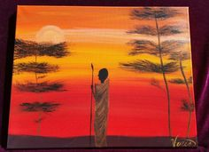 Masai sunset Acrylic painting. This item has sold.