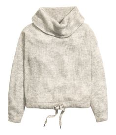 Sweater in a soft knit with alpaca wool content. Cowl neck, dropped shoulders, and long sleeves. Drawstring at hem.   Warm in H&M