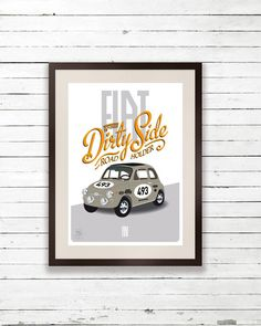 Fiat 500 sport print poster art - race car poster, classic car birthday,  typographic poster Etsy, £17.49 - I NEED THIS! #mylittlecar