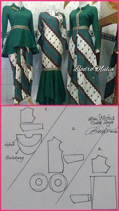 V/ corte princesa - Her Crochet Dress Brukat, Kebaya Dress, Batik Kebaya, Blouse Batik, Batik Dress, Dress Brokat Muslim, Dress Batik Kombinasi, Batik Muslim, Kalamkari Dresses