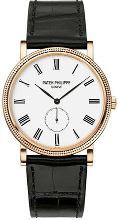 Patek Philippe Calatrava White Dial 18kt Rose Gold Black Leather Mens Watch 5116R