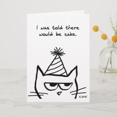 Shop Angry Cat Hates Birthdays - Funny Cat Card created by FunkyChicDesigns. Birthday Card Drawing, Cool Birthday Cards, Homemade Birthday Cards, Birthday Cards For Friends, Bday Cards, Cat Birthday, Funny Happy Birthday Cards, Birthday Humorous, Birthday Quotes