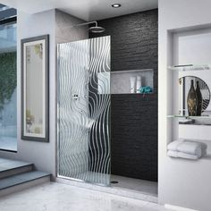 DreamLine Platinum Linea Surf H x to W Frameless Fixed Polished Stainless Steel Shower Door at Lowe's. The DreamLine Linea Surf, part of the Platinum Linea collection, is a single panel, walk-in shower screen, featuring a contemporary tidal-wave design. Walk In Shower Screens, Glass Shower Panels, Small Bathroom, Master Bathroom, Bathroom Showers, Bathroom Sets, White Bathroom, Bathroom Fixtures, Porta Shampoo