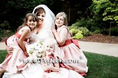 Salmon and Lotus Pink Flower girl dresses - Pegeen Style 345