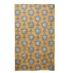 Decorator Paper with Floral Pattern, Yellow, White & Black