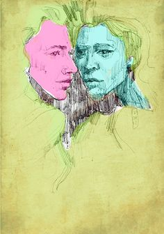 Two girls art print art sketch cold yellow blue and by huntlusArt, $15.00