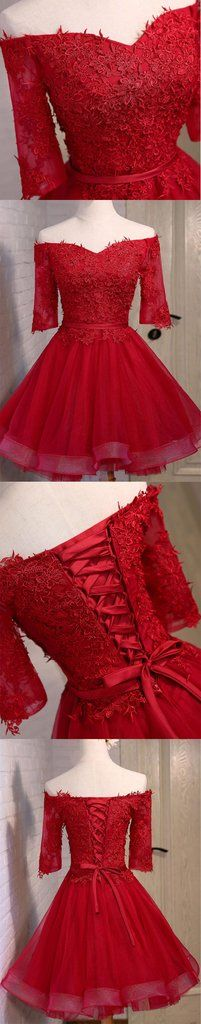 Off Shoulder Short Sleeve Red Lace Cute Homecoming Prom Dresses, Affor – SposaDesses