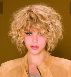 Curly bob. Short hairstyle.