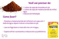Hidratação caseira com chocolate e maizena (amido de milho) - cronograma capilar Spa Day, Diy Hairstyles, Chocolate, Mascara, Your Hair, Curly Hair Styles, Beef, Tips, Gorgeous Hair