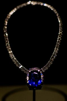 The Bismarck Sapphire gets its name from Countess Mona von Bismarck purchased from Sri Lanka around 1926, and is a 98.6-carat deep cornflower blue cushion-cut sapphire.  In 1967 it was recut and reset by Cartier's, as a pendant to a unique diamond and platinum necklace..