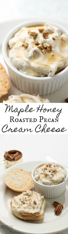 Maple Honey Roasted Pecan Cream Cheese is creamy, sweet and toasty with roasted pecans. If this were our inn's recipe we'd have the inn name, a delicious description, and a link back to our inn's homepage!
