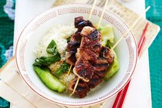 There's no need to order takeaway with this super-easy recipe for marinated pork skewers. Place the meat in the marinade a few hours in advance so you can barbecue just before serving.