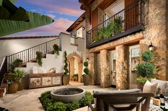 The feeling of being in a little Villa right in your own courtyard! - La Vita Orchard Hills - new homes in Irvine - plan 4 - courtyard