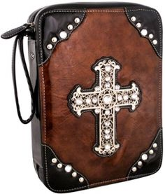 $12.00 Crinkled Faux Patent Bible Cover with Silvertone Cross Bible Covers, Inspirational Gifts, Saddle Bags, Leather Backpack, Bronze, Backpacks, Tooled Leather, Leather Backpacks, Backpack