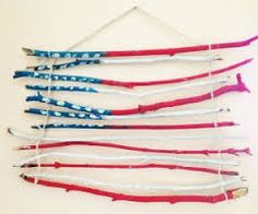 Good for the 4th of July when u have nothing else to decorate with just go get sticks and paint them and hang them and make an flag out of sticks (: