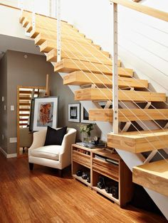Living Room:Wooden Stair Step Combined White Metal Stair Railing With Wooden Stair Railing Handle As Well As Creative Smart Under Stair Storage Unique Staircase Design, Stairs in Modern Interior Design Under Staircase Ideas, Space Under Stairs, Open Stairs, Floating Stairs, Small Space Staircase, Space Saving Staircase, Staircase Storage, Stair Storage, Staircase Design