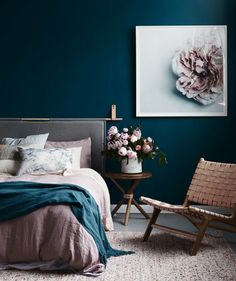 Amazing blue bedroom luxury bedroom idea master bedroom decor painting lamp nighslee mem… – All About Home Decoration