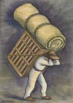Cargador de Petate (Petate Bearer) / Diego Rivera / 1943 / watercolor on paper Contemporary Artists, Modern Art, Diego Rivera Art, Do Ho Suh, Mesoamerican, Whitney Museum, Japanese Artists, Art Of Living, Art Music