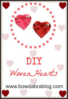 DIY Woven Hearts-Make several ribbon woven hearts to add to hair bows, cardmaking, scrapbooking, and party favors.  Ribbon hearts are perfect for Valentine's Day craft projects.