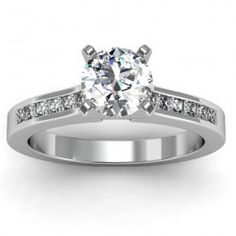 Princess Cut Diamond Engagement Ring set in 18k White Gold  In stockSKU: S1077-18W
