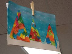 Colorful Christmas tree scene -- could simplify for PreK or make a group project for bulletin board. AD