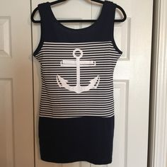 Super Cute Anchor Dress Cute anchor dress/cover up. New, never worn! Size large. Measurements are shown in photo collage. I have Navy and white Or white and navy-your choice-let me know which color and I'll make a listing for you! Includes ONE DRESS. Fast shipping on all my items! Offers are welcome! Swim Coverups