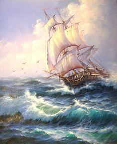 Ship Paintings, Seascape Paintings, Watercolor Landscape, Landscape Art, Ireland Landscape, Old Sailing Ships, Sailboat Painting, Tall Ships, Ship Art