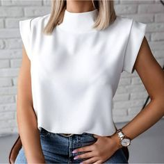 Blouses For Women, T Shirts For Women, Women's Blouses, Jeans Denim, Casual T Shirts, Casual Wear, White Tee Shirts, Blouse Styles, Printed Blouse