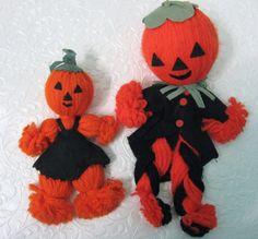 2 Vintage Halloween Dolls Jack-O'-Lantern Heads Yarn Felt Clothes Made In Japan